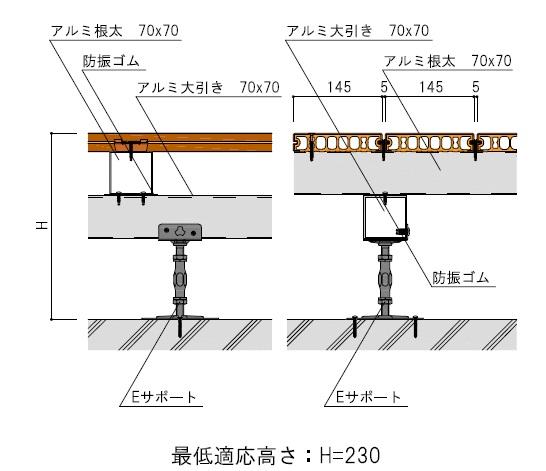 アルミ根太70×70+アルミ大引き70×70