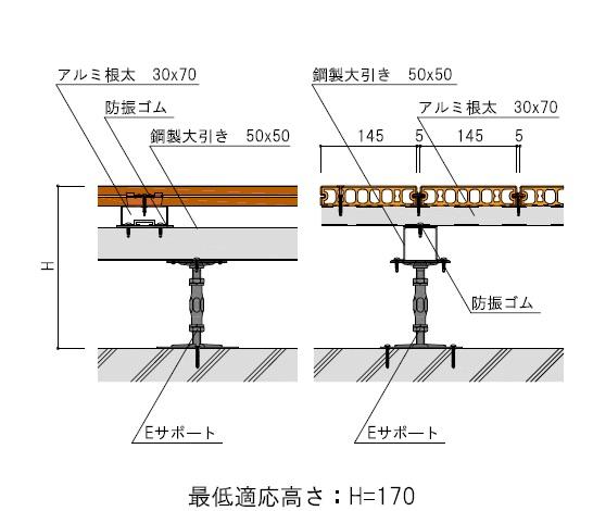 アルミ根太30×70+鋼製大引き50×50