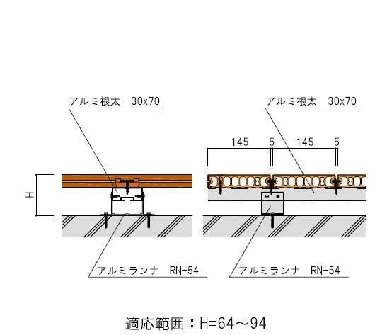 アルミ根太30×70+アルミランナ(RN-54)